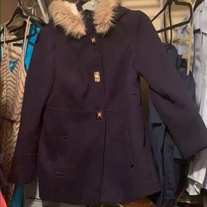 Navy blue faux gold toggle coat